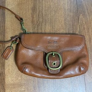 Coach wristlet, brown leather